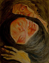 Tote Mutter nach Egon Schiele, Öl auf Papier, 26x32 cm, 300 €
