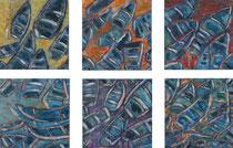 """20x20 /6  """"Feuilles"""" acrylique sur châssis entoilé 2011"""