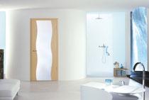 Holz-Glas-Tür Wellenfries Ahorn