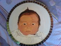 Mein Patenkind Runde Leinwand 40 cm Durchmesser mit Spiegelsteinen!