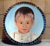 Mein 2ter Neffe 4 Jahre alt Runde Leinwand 40 cm Durchmesser mit Spiegelsteinen!