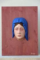Trauernde Madonna, Zirbe auf Fichtenplatte 55x40 cm