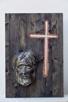 Antlitz Christi, Zirbe auf Fichtenplatte 65x45 cm