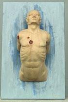 Männliche Wandskulptur, Zirbe auf Fichtenplatte 80x50 cm