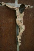 Christus, Zirbe, gefasst auf Eisenplatte 80x60 cm
