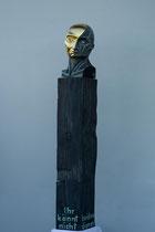 Mammon, Zirbe, Fichtensockel, Ölfassung, Vergoldung, Höhe: 180 cm