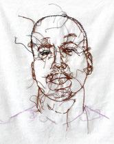 Jeffrey Sterling 2013, Stickerei auf Leinwand, 46 x 38 cm