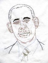Barack Obama 2013, Stickerei auf Leinwand, 47 x 37 cm