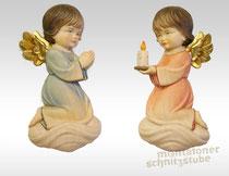 Kinderengel betend und kniend mit Kerze