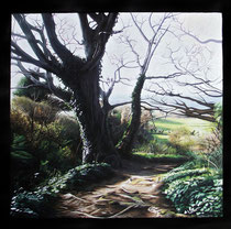 """Wicklow Path"" Gouache on blackboard 50x50cm SOLD"
