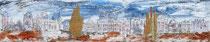 Stadlandschaft im Herbst - Acry-Mischtechnik auf Leinwand im maßgefertigtem Schattenfugenrahmen 50x10 cm - 2019 -verkauft-