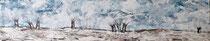 Winterlandschaft mit Kopfweiden - Acryl-Mischtechnik auf Leinwand in weißem Schattenfugenrahmen - 100 x 20 x 2 cm - 2017