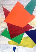 """""""Farbflächen im Raum"""", Acryl in 70x100 auf Ulmer Malgrund (Holzplatte)"""
