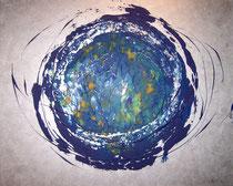 Blue B silber . 100 x 80 cm