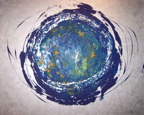 Blauer Planet im Silbermondhimmel . 100 x 80 cm