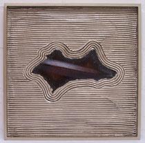 """METALLICON ZEN """"Insel in Silber"""" . 40 x 40 cm"""