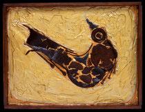 "METALLICON FOSSIL ""Vogel"" . 50 x 40 cm *"