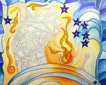 Feuer für das Eishaus . 100 x 80 cm . Acryl mit Metall auf Leinwand*
