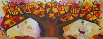 Das Herbstblatt . 160 x 60 cm . Acryl mit Metall auf Leinwand
