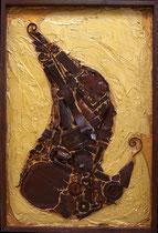 """METALLICON FOSSIL """"Saxophon"""" . 80 x 120 cm"""