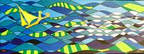 Begrüßung auf dem Meer . 160 x 60 cm . Acryl mit Metall auf Leinwand