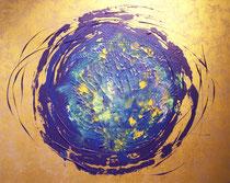 Blauer Planet im Sonnenhimmel . 100 x 80 cm