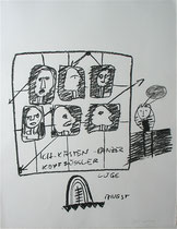 Kopffüssler, 2000, Kohle auf Bütten