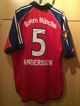99/00 DFB Pokalfinale Spielertrikot von Patrick Andersson hinten