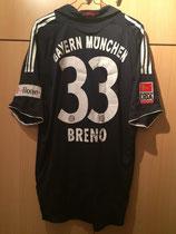 08/09 Bundesliga away Spielertrikot von Breno hinten
