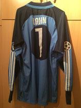 01/02 Weltpokal Torwart Spielertrikot gegen Boca Juniors von Oliver Kahn hinten