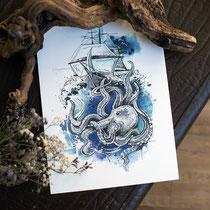 maritimer_print_kraken_hahn_ueber_bord