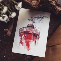 maritimer_print_roter_leuchtturm_hahn_ueber_bord