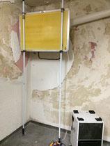 Kellerwandtrocknung mittels Heizplatte und Raumtrockner