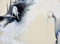 """""""the prey""""  90x120cm Graphit und Acryl auf Leinwand"""