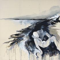 """""""the guardian""""  200x200cm Graphit und Acryl auf Leinwand"""