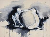 """""""the offering II""""  90x120cm Graphit und Acryl auf Leinwand"""