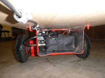 Der Batteriekasten unter dem Bollerwagen mit dem Geschwindigkeitsregelmodul...