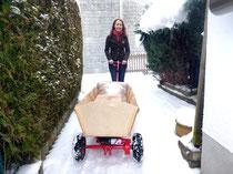 Erste Testfahrt im Schnee bei Minus 4°C und erläuft wie am Schnürchen :-) (Zuladung 3 Säcke Pellets = 45kg)