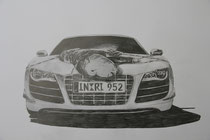 COULD AUDI SAVE US? PERFORMING THE INFINITE MONKEY THEOREME / Graphite on paper / 50 x 60 / 2012