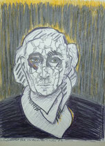 """Selbst violett (""""Farbe der Gestörten""""), März 1986, Zeichnung (#827)"""