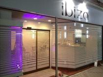 千葉市栄町「ibiza」様外照LEDインクジェット看板、ガラスマーキング製作、施工