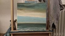 """""""Kabbelige See vor Helgoland"""" 2014 (Öl auf Leinwand 30 x 30)"""