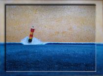 """""""Rot-gelber Leuchtturm I"""" 2018 (Acryl und Ölpastellkreide auf Leinwand, 60 x 80)"""
