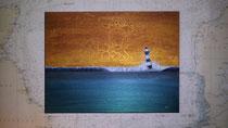 """""""Kleiner blauer Leuchtturm"""" 2015 (Acryl und Ölpastellkreide auf Leinwand, 30 x 40)"""