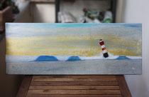 Schwere See vor Roter Sand, 2013 (Acryl und Ölpastell auf Leinwand, 30 x 80), Andreas Klußmann