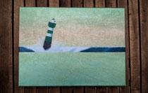 """""""Grüner Leuchtturm nach Sonnenuntergang"""" 2015 (Acryl und Ölpastellkreide auf Leinwand, 30 x 40) - VERKAUFT"""
