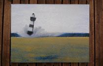 """""""Grauer Leuchtturm, graues Wetter"""" 2015 (Acryl und Ölpastellkreide auf Leinwand, 30 x 40)"""