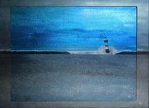 """""""Blauer Leuchtturm V"""" 2015 (Acryl und Ölpastellkreide auf Leinwand, 60 x 80)"""
