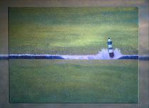 """""""Goldener Abend, blauer Leuchtturm"""" 2015 (Acryl und Ölpastellkreide auf Leinwand, 60 x 80)"""
