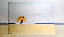 """""""Roter Leuchtturm im Sonnenuntergang"""" 2015 (Acryl und Ölpastellkreide auf Leinwand, 60 x 80)"""